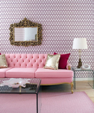 This is a very feminine space, but the graphic wallpaper keeps it modern and I love the contrast between old and new.