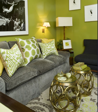 Amanda Nesbit. This is a beautiful color combination. Pairing the lime green with a soft gray palette prevents the walls from overpowering the space.