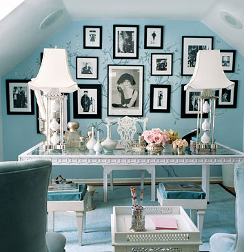 Domino Magazine. Designer Mary McDonald's office. I love the use of Tiffany blue...so girly and chic.